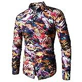 BELLER Men's Blouse,Men's Printed Fashion Shirt Luxury Design Long Sleeve Shirt Unique Pattern Fancy Floral Tops (M, Purple)