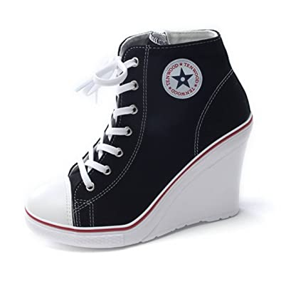 EpicStep Womens Black Canvas High Top Wedges High Heels Casual Fashion  Sneakers 55