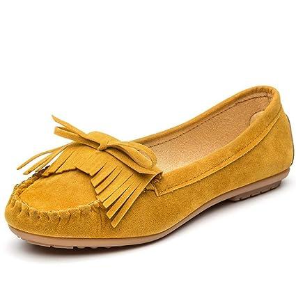 YOPAIYA Las Mujeres Plataforma Plana señoras Elegantes Mocasines de Gamuza Fringe Zapatos Mujer resbalar sobre Borla