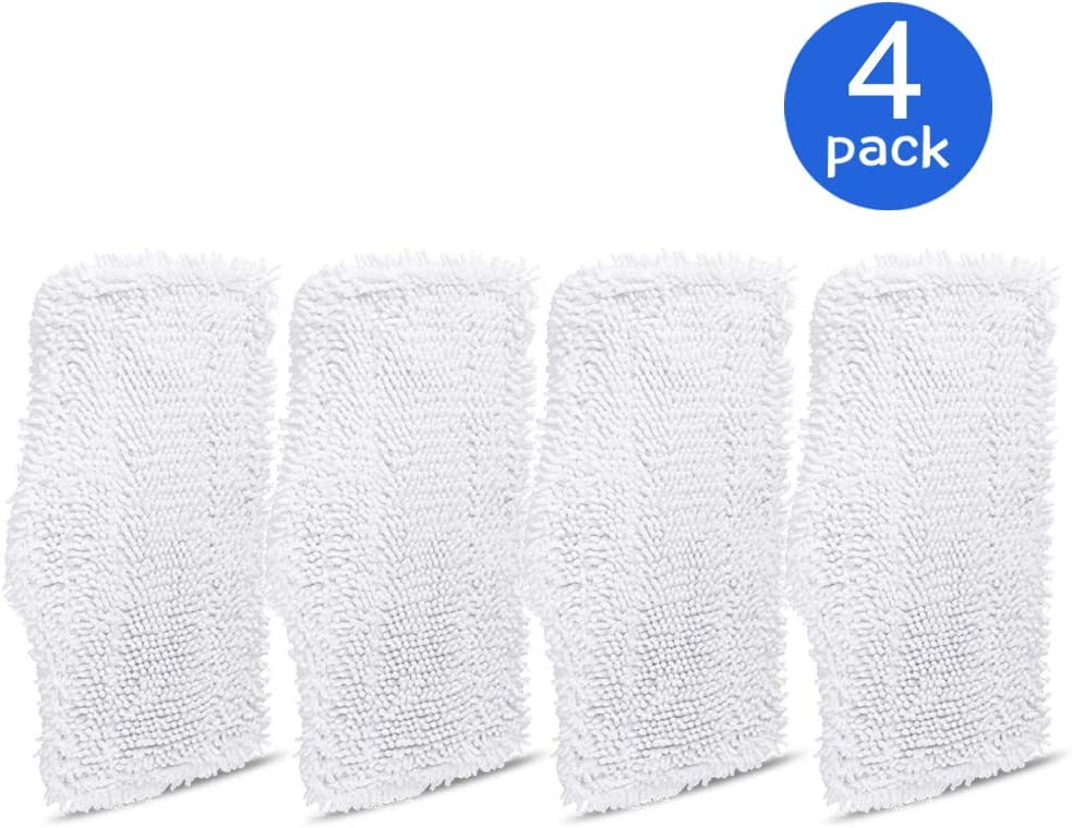 4 Pack Replacement Washable Cleaning Pads Fits Shark Steam & Spray Mop SK410, SK435CO, SK460, SK140, SK141, S3101, S3250, S3251