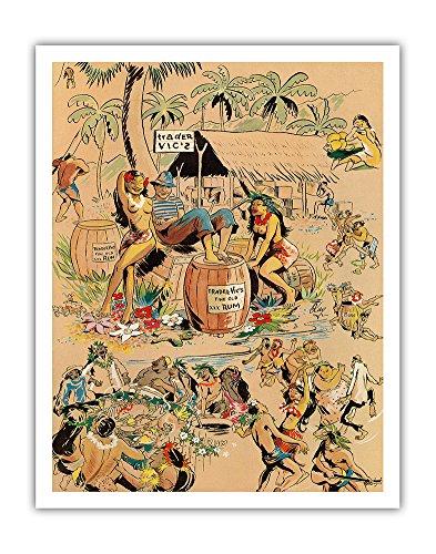 Pacifica Island Art Trader Vics XXX Rum - Vintage Bar Menu Cover by Kay c.1947 - Hawaiian Fine Art Print - 11in x 14in
