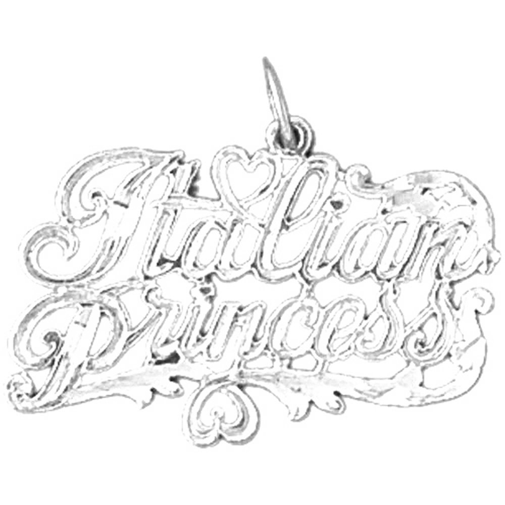 Rhodium-plated 925 Silver Italian Princess Pendant with 18 Necklace Jewels Obsession Italian Princess Necklace