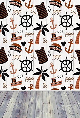 AOFOTO 3x5ft Nautical Style Backdrops Sea Rudder Anchor Palmtree Pattern Photo Shoot Background Abstract Ocean Ship Sailor Hat Photography Studio Props Kid Boy Artistic Portrait Wallpaper Video Drop