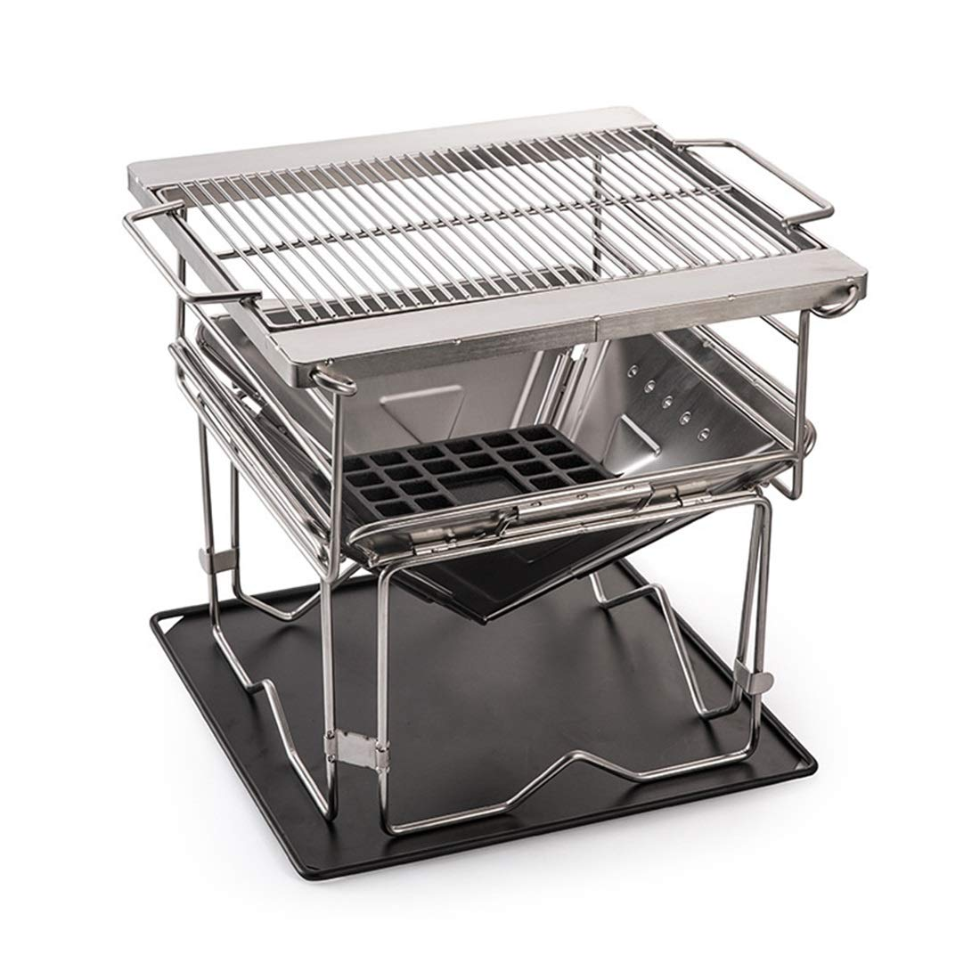 Vfdsvbdv Stainless Steel Grill Folding Portable Grill Thick Stove - Camping and Trailing (Size : One Size)