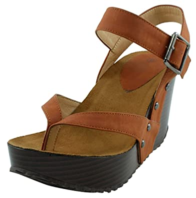 9eafd5426 Cambridge Select Women s Studded Ankle Strappy Buckle Thong Platform Wedge  Sandal (5 B(M