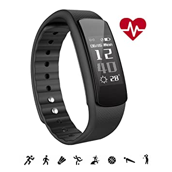 Pulsera Actividad Inteligente, IWOWNFIT Impermeable IP67 para Natación, Monitor de Actividad Sueño Ritmo Cardiaco