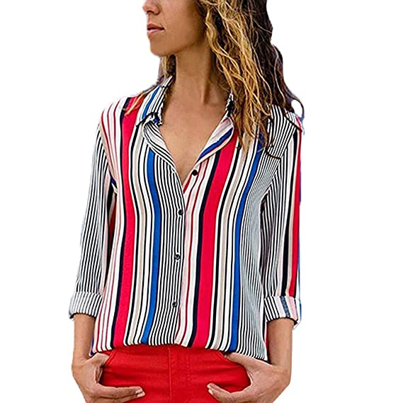 454adb35b86a40 NEEKY Damen Langarm Shirt - Frauen Mode Striped Button Down Bluse Freizeit  V-Neck Tops Kleidung: Amazon.de: Bekleidung