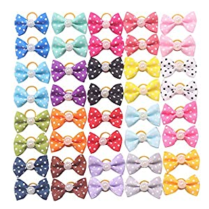 YAKA 40pcs/(20pairs) Hot Cute Small Dog Hair Bows Topknot Small Bowknot with Rubber Bands Pet Grooming Products Pet Hair Bows Hair Accessories 20 Colors 48