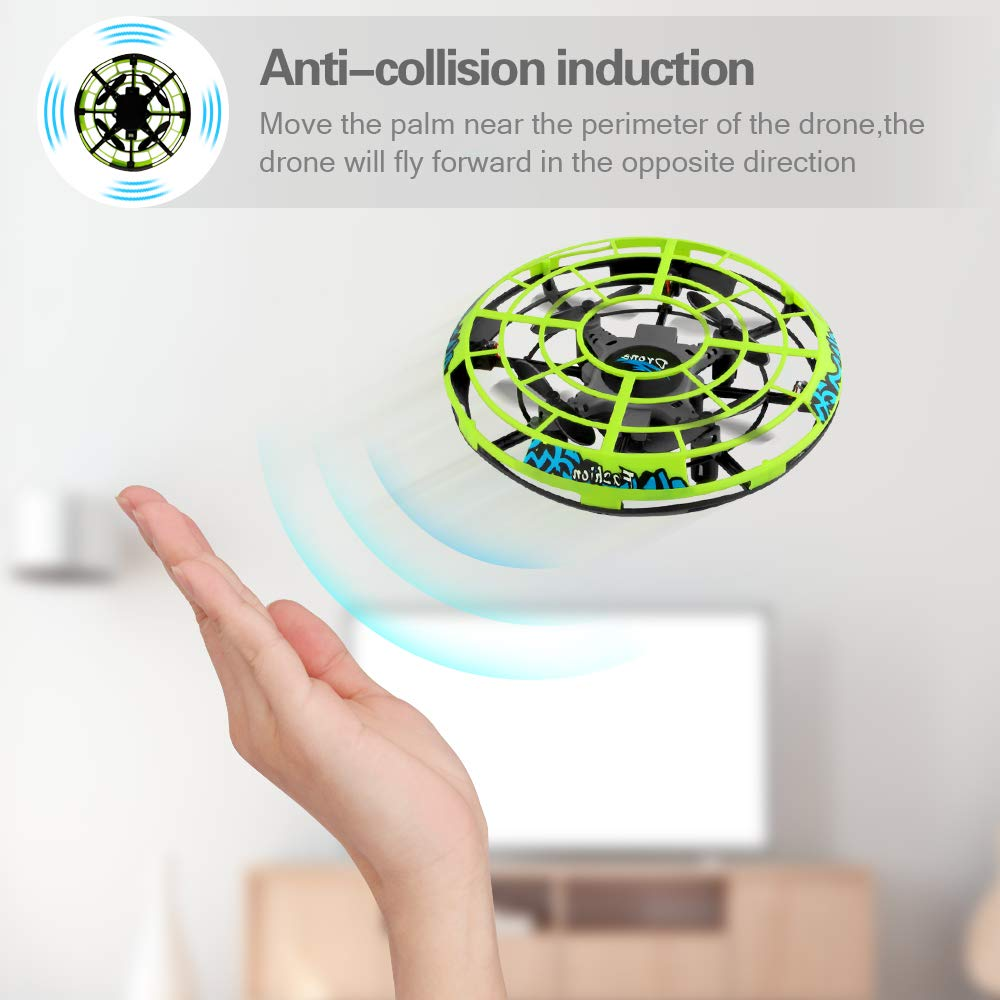 Baztoy Flying Ball RC UFO Drone Flying Saucer Toys Hand Controlled Mini Drone Remote Control Fly Toy New Birthday Gifts with Cool LED Light Indoor Outdoor for Kids, Adults, Girls and Boys by Baztoy (Image #3)