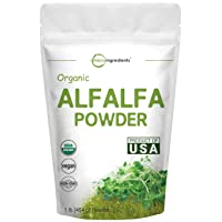Sustainably US Grown, Organic Alfalfa Powder, 1 Pound (16 Ounce), Contains Immune...