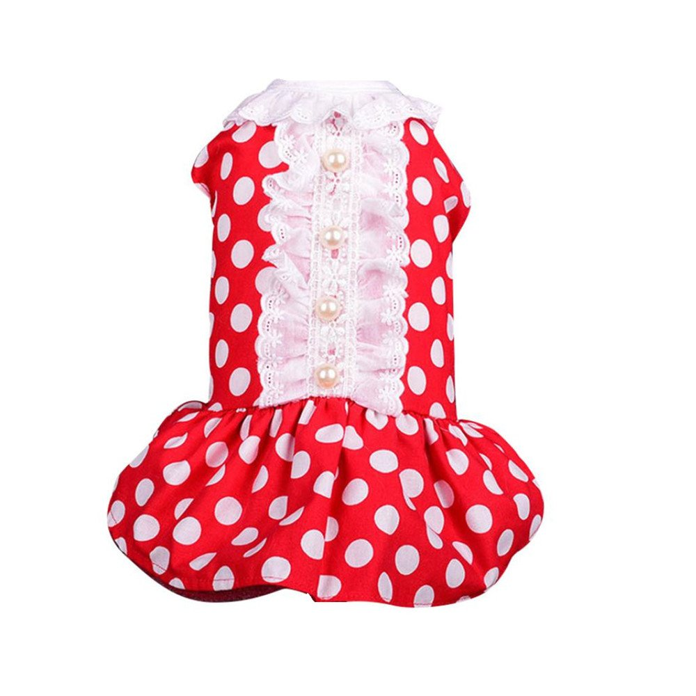Wakeu Small Dog Girl Dress Pet Puppy Cat Summer Clothes Wave Point Pearl Shirt (XS, red)