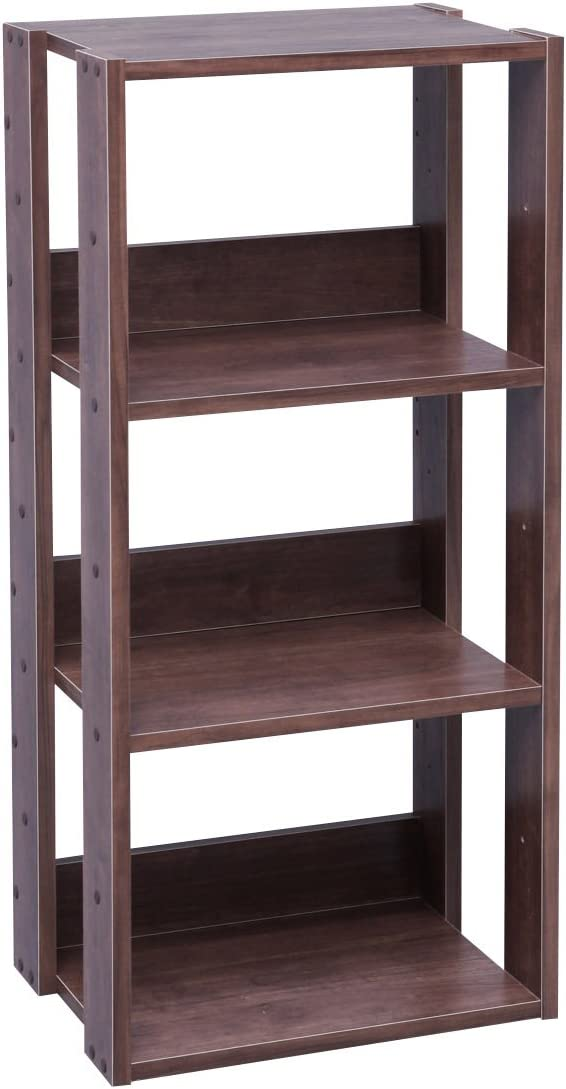 IRIS USA 3-Tier Open Wood Bookshelf, Dark Brown