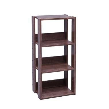 IRIS USA 3-Tier Open Wood Bookshelf, Dark Brown