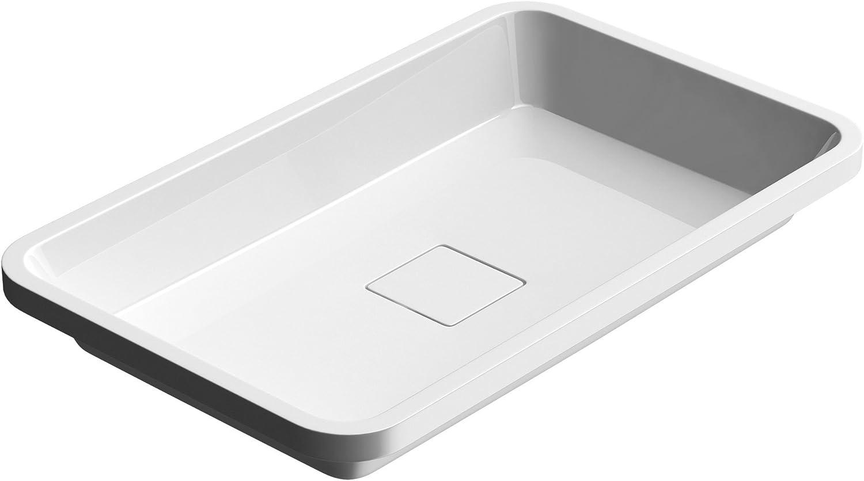 doporro lavabo empotrado/encastrado de mármol fundido Colossum104 blanco de 53 cm de ancho, con tapa de desagüe