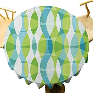 Grunge Tablecloth - 60 Inch Round Table Cloth Decoration Geometric Oval Shapes Elliptic Vertical Curves Nature Theme Pattern Wrinkle Free Apple Green Turquoise White