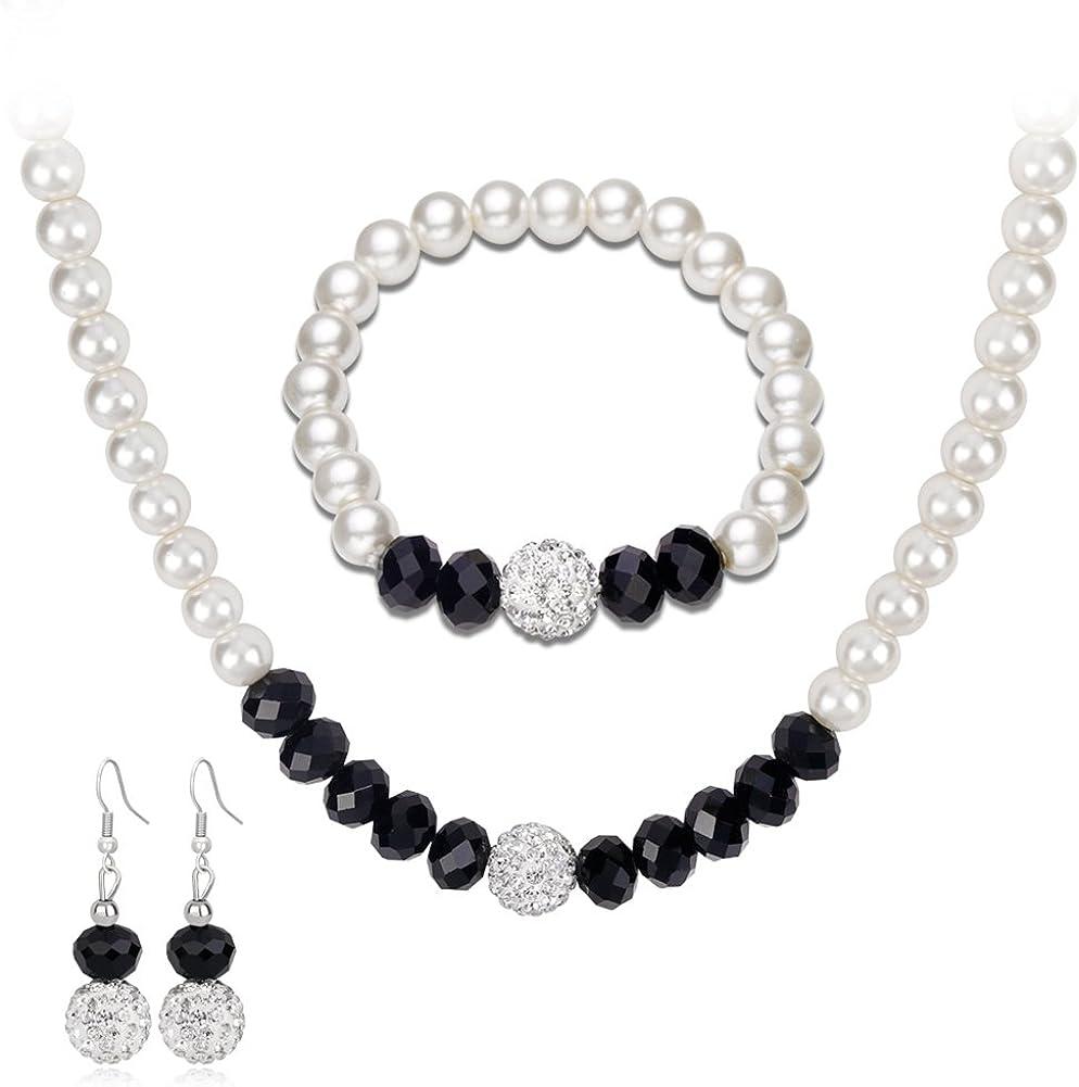 yingyue - Juego de Collar y Pendientes de Perlas de imitación para Mujer, Regalo de Fiesta, Blanco y Negro