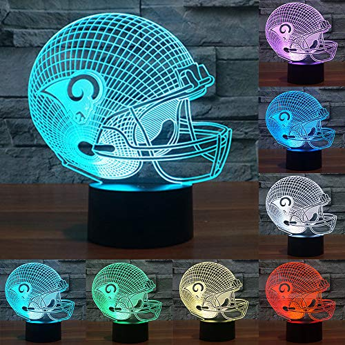 (Football Cap Team Logo 3D Lamp Table NightLight 7 Color Change Football LED Desk Light Touch Multicolored USB Power As Home Decoration Lights Tractor for Boys Kids (Touch) (St. Louis Rams))