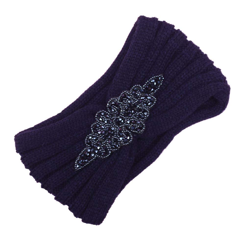Bohemia Headband, Women Diamond Knitting Handmade Warm Hairband Hair Accessories (Navy)