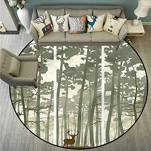 Skid-Resistant Rugs,Forest,Pine Trees Deer Motif,Rustic Home - Deer Motif