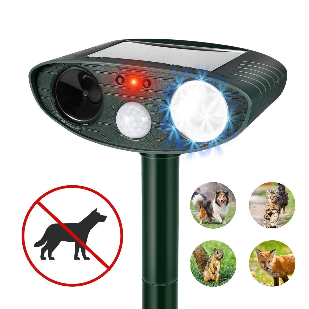 QKa Ultrasonic Dog Repellent, Solar Powered & Waterproof Pir Sensor Repeller for Cats, Dogs, Birds & Skunks & More Motion Activated LED Flashing Light by QKa