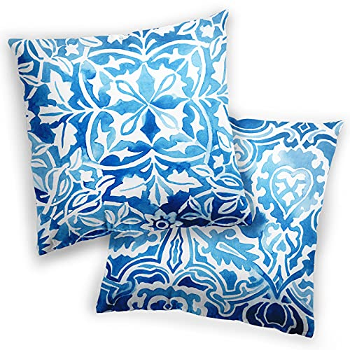 Abstract Throw Pillow Covers, Decorative Throw Pillow Cases for Couch Bed Car, Two Sides Print Flower Pillowcases, Modern Living Room Decor Cushion Protector, Set of 2, 18