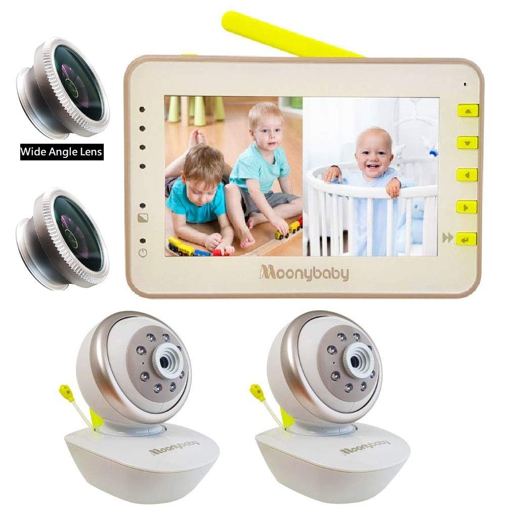 Video Baby Monitor 2 Cameras, Split Screen by Moonybaby, Pan Tilt Camera, 170 Degree Wide View Lens Included, 4.3 inches Large Monitor, Night Vision, Temperature, 2 Way Talk Back, Long Range by moonybaby (Image #1)
