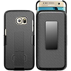 Galaxy S7 Edge Case, E LV - Belt Swivel Clip / Kickstand - Dual Layer Armor Holster Defender Full Body Protective Case Cover for Samsung Galaxy S7 Edge - [BLACK]