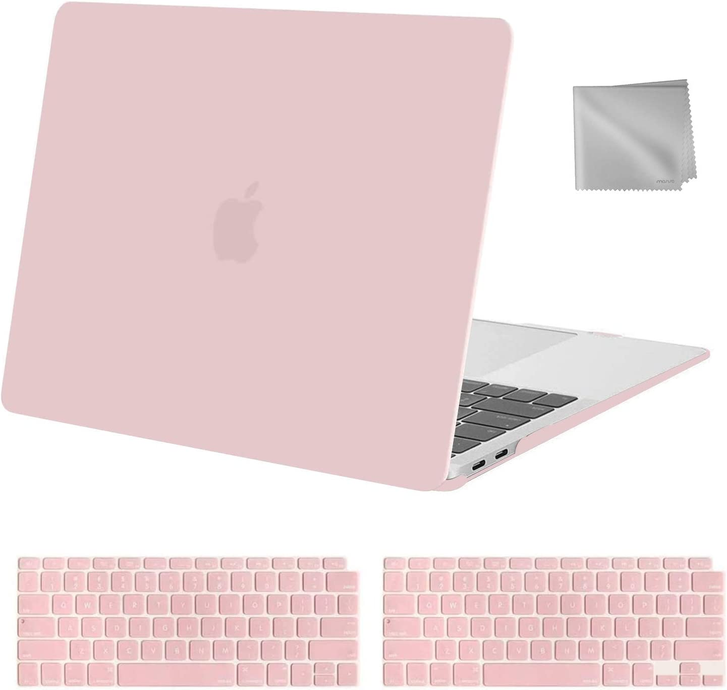 MOSISO MacBook Air 13 inch Case 2020 2019 2018 Release A2179 A1932, Plastic Hard Shell Case&Keyboard Cover&Wipe Cloth Compatible with MacBook Air 13 inch with Retina Display, Rose Quartz