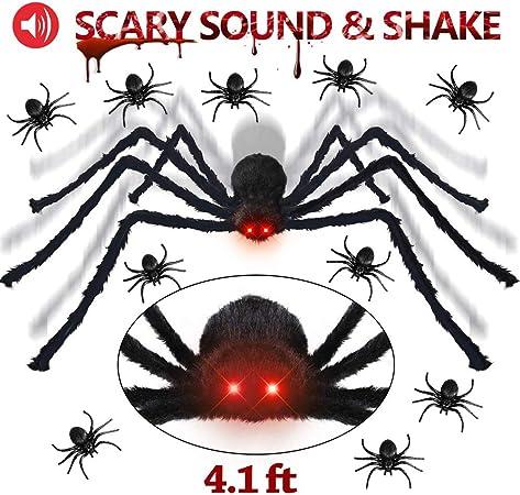 "Black Fake Spider Plastic Tarantula Halloween Decor Prop 8/"" W x 6/"" L Hanging NEW"
