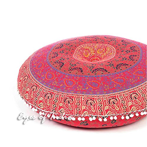 Eyes of India - 32'' Red Floor Pillow Cushion Seating Throw Cover Mandala Hippie Round Colorful Decorative Bohemian boho dog bed IndianCover Only by Eyes of India