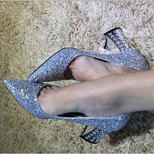 Gray High Silver Autumn Women'S Shallow Wedding Heels Yukun Thick Silver 40 Shoes Sequins Pointed With Shoes High heels aCwAvSq