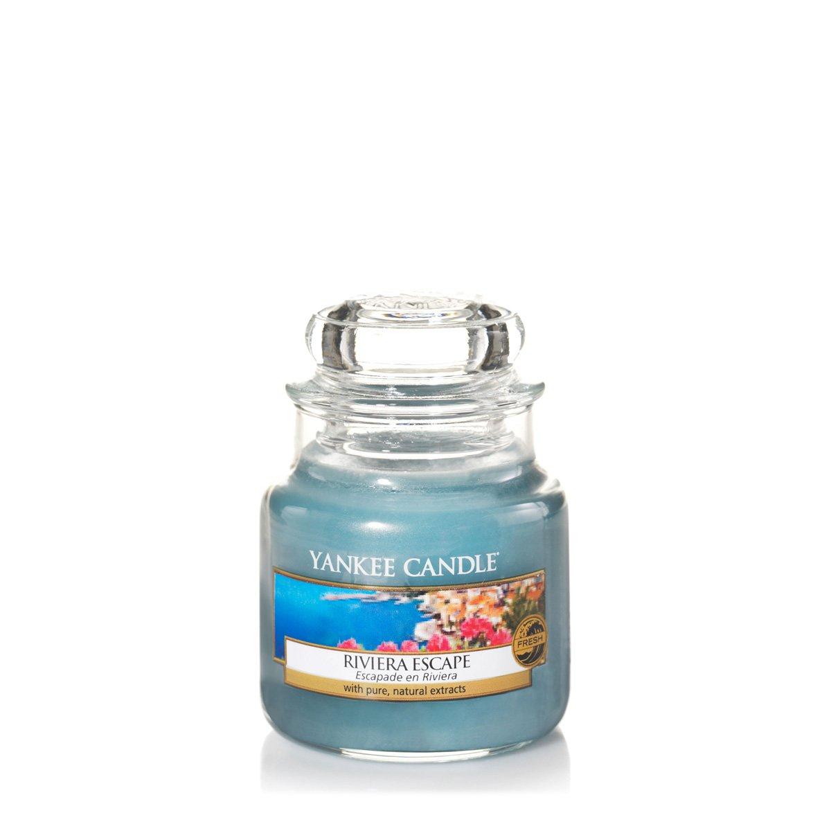 YANKEE CANDLE Riviera Escape Candele in Giara Piccola, Vetro, Blu, 6.3X6X5.5 cm 1507718E