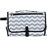 Baby Travel Change Mat/Pad with Storage Pockets in Grey and White
