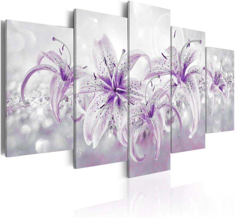5 piezas flores púrpuras carteles imprimir arte de la pared lirios morados flor lienzo pianting impresiones cuadros habitación para niños decoración del hogar 30x40cmx2 30x60cmx2 30x80cm sin marco