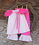 Baby Girls Pink Easter Outfit with monogram and ruffled pants
