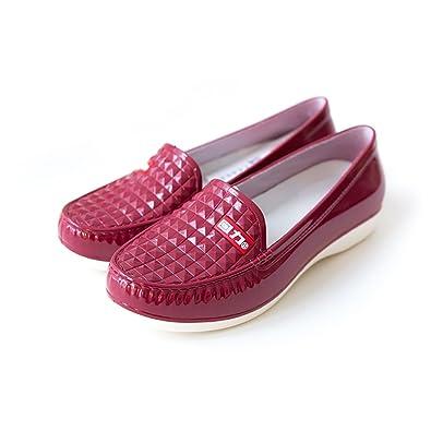 Regenstiefel der Frauen, Flache Stiefel der Frauen Regenstiefel, Rutschfeste Hohe Stiefel, Art- und Weisewasser-Schuhe (Farbe : A, Größe : 37)