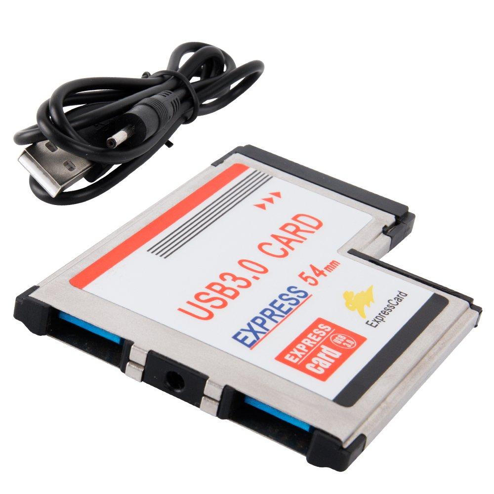 SHINESTAR 54mm Express Card to 2 Dual Port USB 3.0 HUB Adapter Converter Card Super-Speed