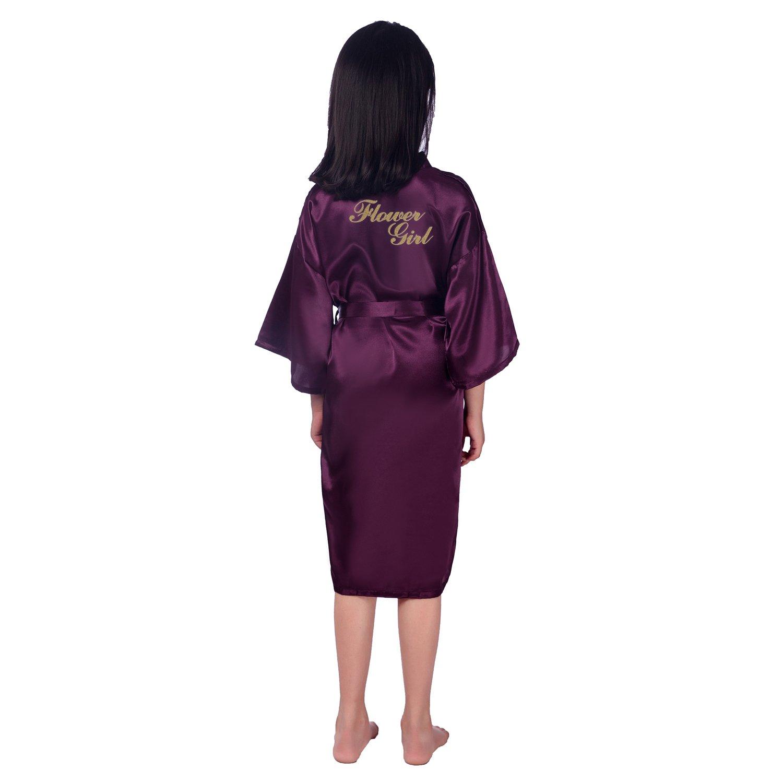 3b83c71245 Amazon.com  Vogue Forefront Girls  Bridal Party Satin Kimono Robe with  Glitter Flower Girl  Clothing