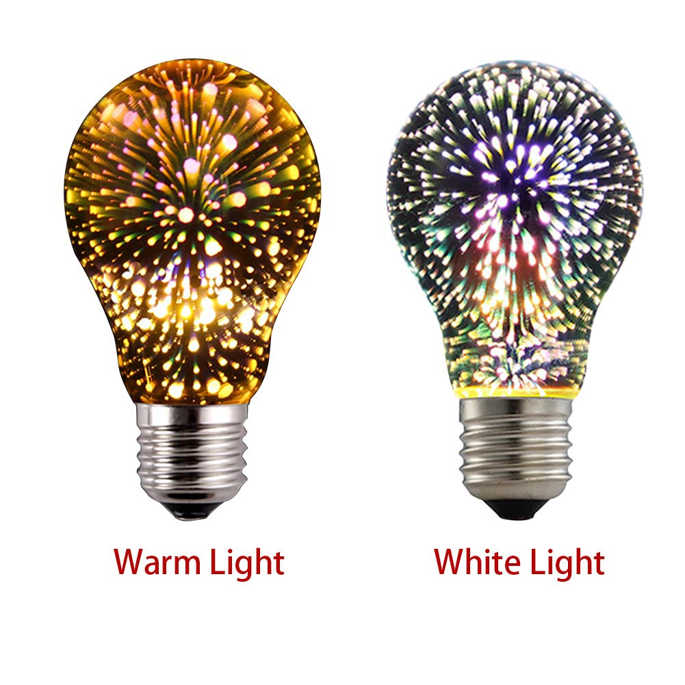 LED Fireworks Bulb, 3D Led Bulb Star E27 Vintage Edison Night Light Colorful Bombillas Retro Glass Lampara Vial Christmas Home Decor RGB(60mm108 mm, ...