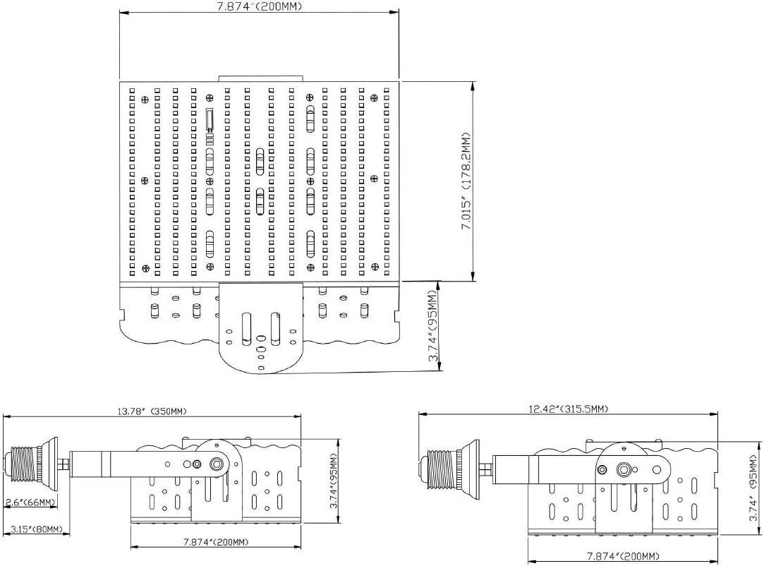 480V 120W LED Shoebox Retrofit Kit Replace 400Watt Metal Halide Parking Lot Light 5700K Daylight E39 480volt High Bay Retrofit Kit Street Gas Station Lighting AC185-528V