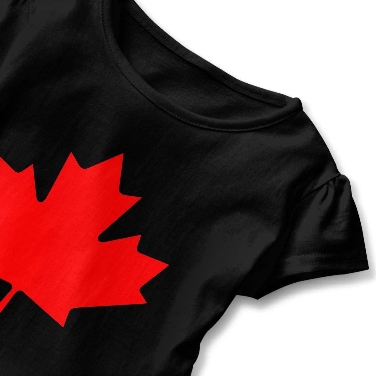 Canadian Flag Canada Maple Leaf Toddler//Infant Girls Short Sleeve T-Shirt Ruffles Shirt T-Shirt for 2-6T