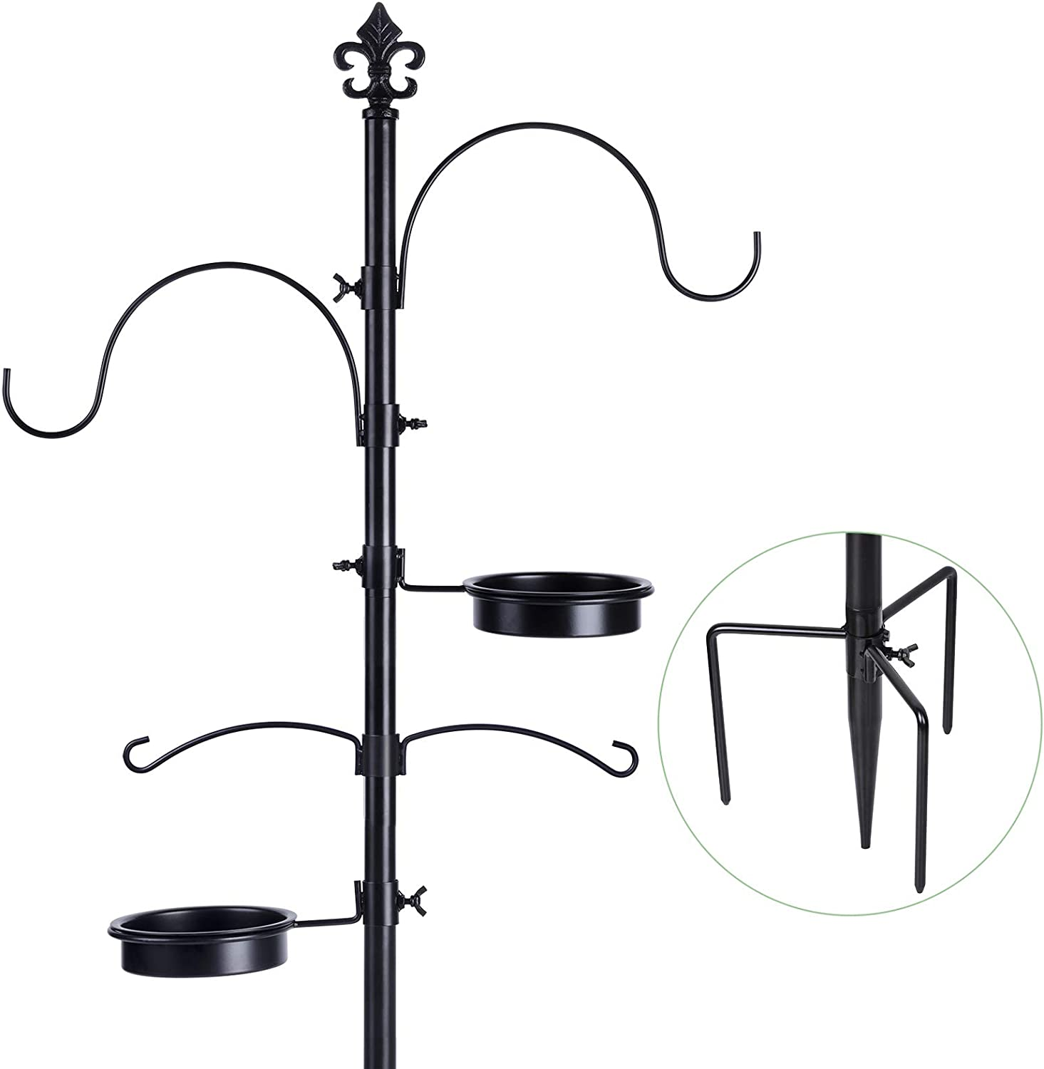 BOLITE 18014 Bird Feeding Station, Bird Feeder Pole Stand for Outside, Improved Prongs Design, Black