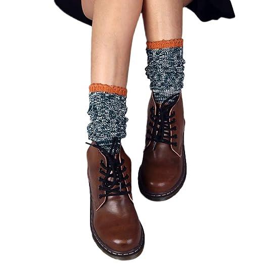 BHYDRY Nuevo invierno mediados tubo calcetines de algodón retro mujeres cálida moda: Amazon.es: Ropa y accesorios