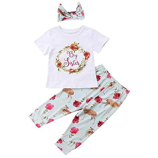 5525e192a394c Baby Girl's Little Sister Clothes Big Sister Floral Letter T-Shirt Romper +  Deer Print Pant + Headband Outfit Set