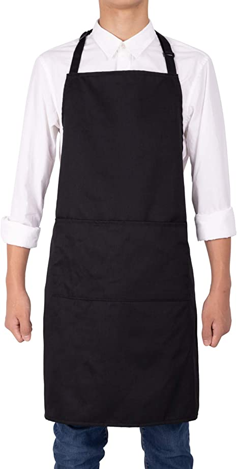 Womens Mens Apron Bib Water Proof Pocket Butcher Waiter Chef Kitchen Cooking