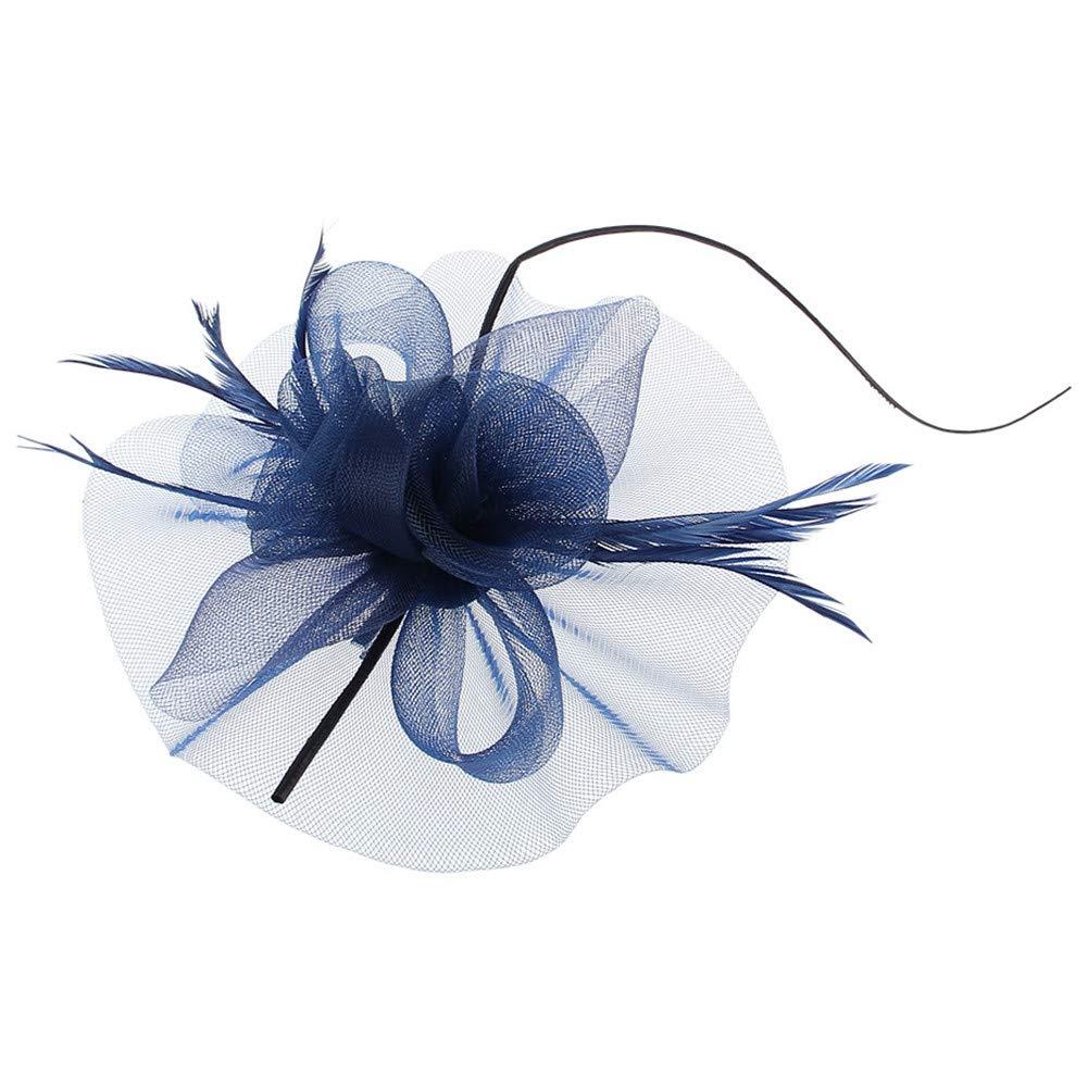 Fleur /à la Main Plume Maille Cap Coiffe de mari/ée pour Cocktail Mariage Tea Party Banquet Cocktail /église,Beige TBATM Chapeau Bibi Femme
