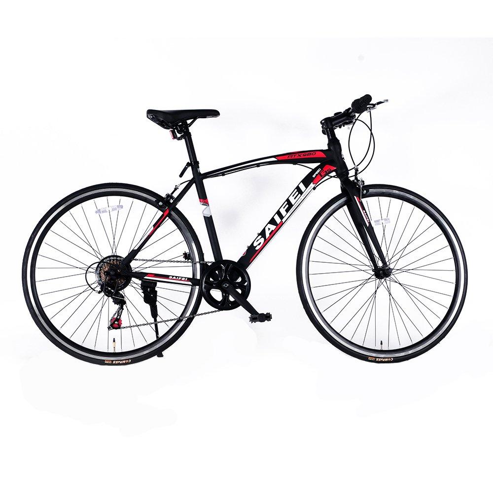 クロスバイク 自転車 軽快車 スピード 700C 7段変速 軽量高炭素鋼フレーム おしゃれ スタイリッシュ 適用身長155cm以上 初心者 街乗り 通勤 通学 ライトと鍵 入学 就職 お祝い RS-02 B079M71QJ6ブラック