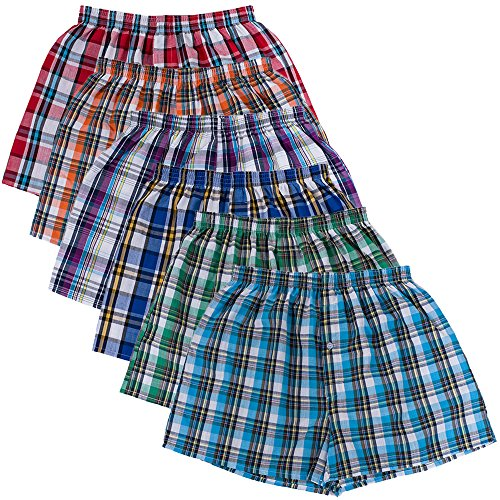 Cotton Fitted Boxer Shorts (SLJ Men's Woven Plaid Boxer Shorts Underwear Men Pack of 6)