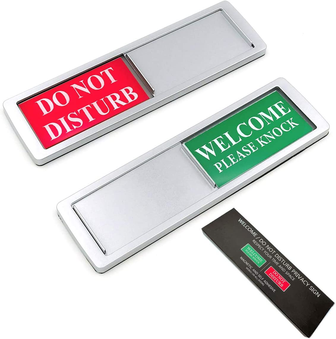 Privacy Sign, Do Not Disturb/Welcome Sign for Home Office Restroom Conference Hotel Hospital, Non-Scratch Strong Magnetic and Adhesive Stickers Sliding Indicator Signs Works on All Doors (Silver)