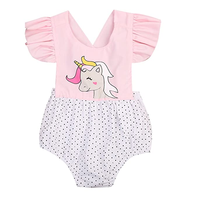 dd270fd8ca96 Newborn Baby Girls Ruffle Sleeve Floral Unicorn Romper Bodysuit Jumpsuit  Outfits Clothes